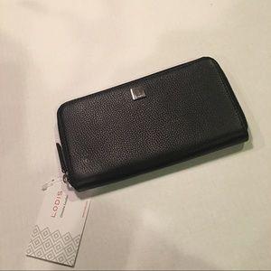 NWT Lodi's Black Leather Zip Around Wallet